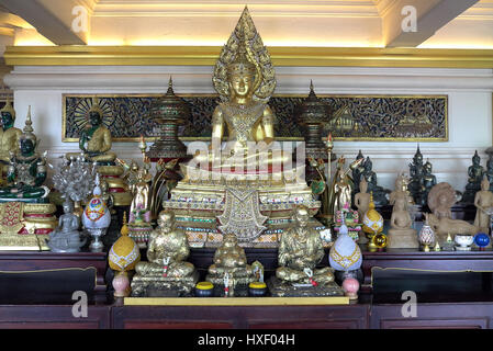 Buddha statues inside the Wat Saket temple also known as the Golden Mount temple in Bangkok, Thailand. - Stock Photo