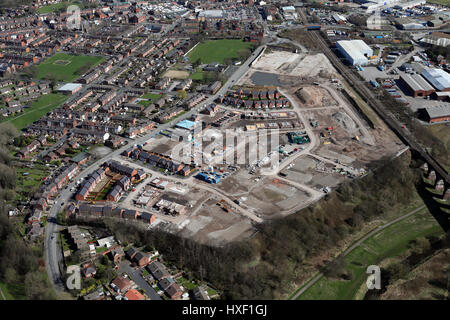 aerial view of new housing development on a brown field site, UK - Stock Photo