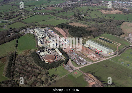 aerial view of a large factory premises in Cheshire, UK - Stock Photo