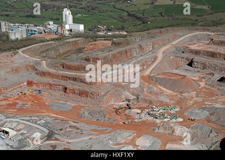 aerial view of a sand quarry, UK - Stock Photo