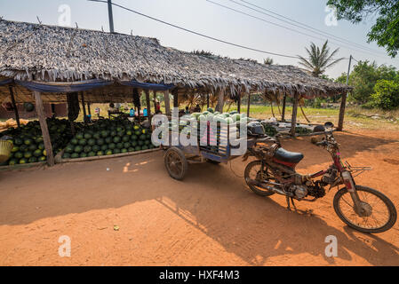 shop with watermelons on the street of the town Siem Reap , Cambodia, Asia. - Stock Photo
