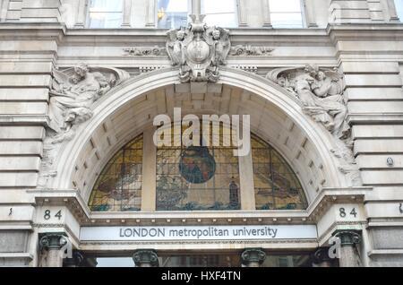 LONDON ENGLAND  22 February 2015:  Front of London Metropolitan University - Stock Photo