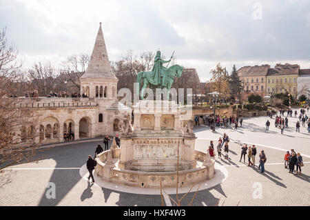 BUDAPEST, HUNGARY - FEBRUARY 20, 2016: Fisherman's Bastion with equestrian statue of St. Stephen in Budapest, Hungary - Stock Photo