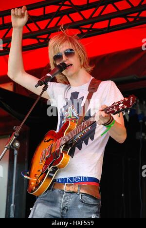 Max Davenport, lead singer of British rock band Out Side Room, performs at the annual Tentertainment music festival - Stock Photo