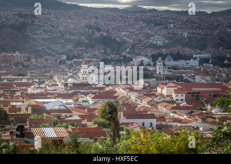 High view of city of Sucre, Bolivia - Stock Photo