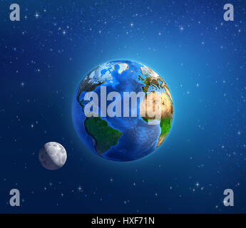 Detailed image of the Earth and its landforms, under daylight and moonlight, viewed from outer space. Elements of - Stock Photo
