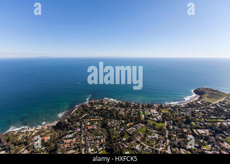 Aerial view of ocean view homes in the Point Dume neighborhood of Malibu, California. - Stock Photo