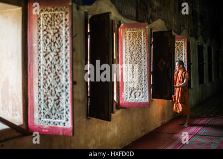 Interior of the Wat Bo temple in the Siem Reap, Cambodia. - Stock Photo