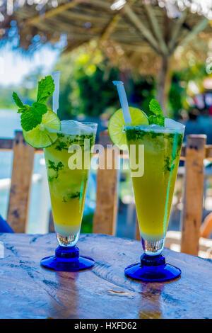 Delicious Mojitos in an open-air bar, Las Isletas, Lake Nicaragua, Granada, Nicaragua - Stock Photo