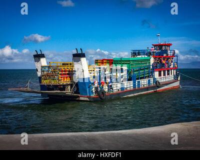 Ferry boat from San Jorge to Isla Ometepe, Nicaragua - Stock Photo