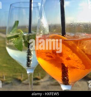 Summer drinks hugo and aperol sprizz - Stock Photo