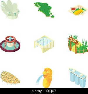 Singapore icons set, cartoon style - Stock Photo