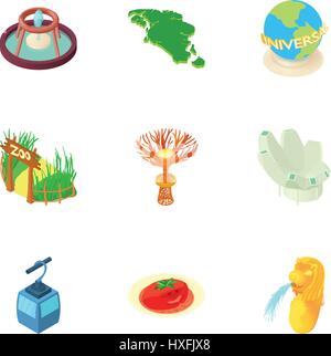 Country Singapore icons set, cartoon style - Stock Photo