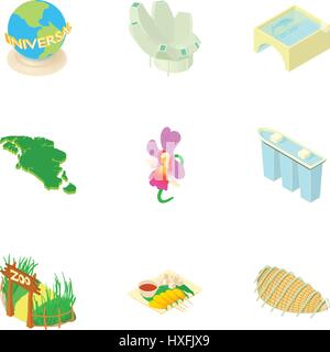 Holiday in Singapore icons set, cartoon style - Stock Photo