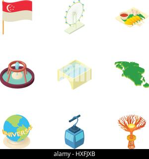 Attractions of Singapore icons set, cartoon style - Stock Photo