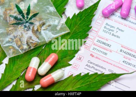 Hemp sheet, cannabis and medical recipe, Hanfblatt, Cannabis und ärztliches Rezept