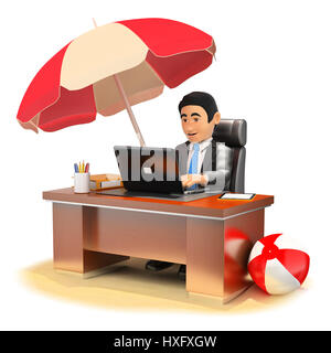 3d business people illustration. Businessman working in his office on the beach. Isolated white background. - Stock Photo