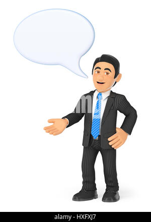 3d business people illustration. Businessman with a speaking bubble. Isolated white background. - Stock Photo