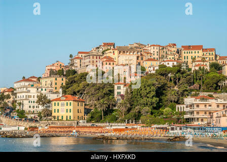 View over the Porto Maurizio beach in front of the old town of Imperia at the Ligurian Coast, North West Italy. - Stock Photo