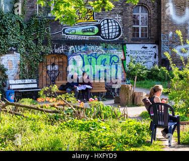 Berlin, Kreuzberg. The Ton Steine Garden,  communal community urban gardening next to the Georg von Rauch House.People - Stock Photo