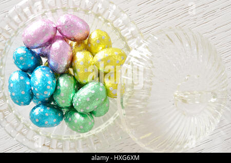 Foil Wrapped Chocolate Easter Eggs in glass bowl - Stock Photo