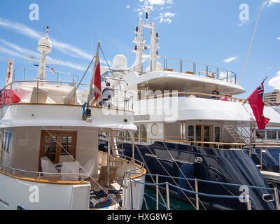Motor Yachts in Fontvielle Harbour, Monaco - Stock Photo