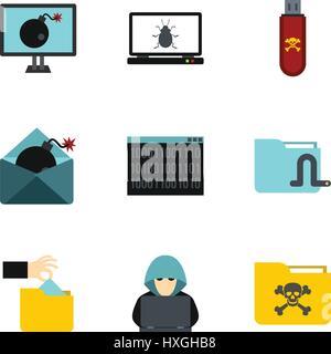 Data theft icons set, flat style - Stock Photo