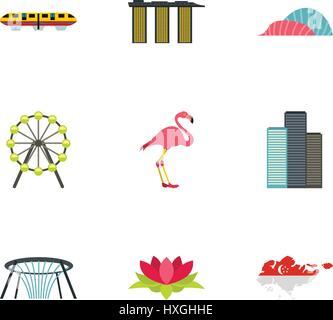 Singapore icons set, flat style - Stock Photo