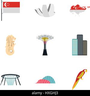 Attractions of Singapore icons set, flat style - Stock Photo