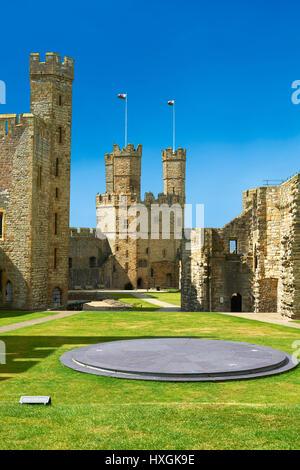 Caernarfon or Carnarvon Castle built in 1283 by King Edward I of England, Gwynedd, north-west Wales, - Stock Photo