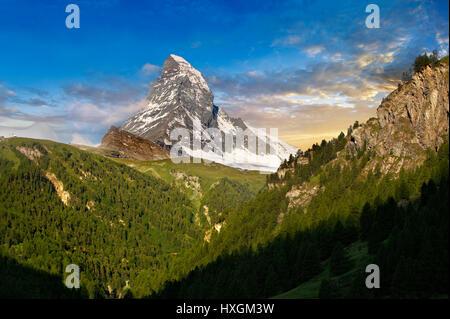 The Matterhorn or Monte Cervino mountain peak, Zermatt, Switzerland - Stock Photo
