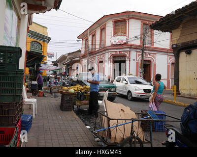 Market place on the streets of Nicaragua, colorful culture. - Stock Photo