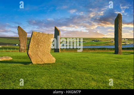 Neolithic Standing Stones of Stenness, Isle of Orkney, Scotland - Stock Photo