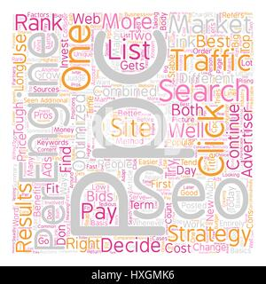 SEO or PPC Which One is Right for You text background wordcloud concept - Stock Photo