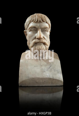 Roman marble sculpture bust of Pindar, 130-140 AD, inv 6144, Museum of Archaeology, Italy Naples National Museum - Stock Photo