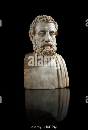 Roman marble sculpture bust of Greek philosopher Aeschines, 23BC to 14 AD, inv 6139, Naples National Museum of Archaeology, - Stock Photo