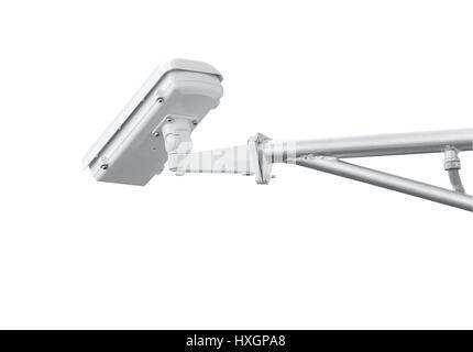 CCTV camera isolated on white background with clipping path - Stock Photo