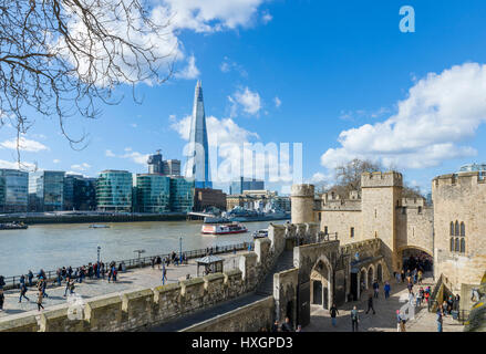 Tower of London. View over the River Thames from the Tower of London looking towards The Shard, London, England, UK