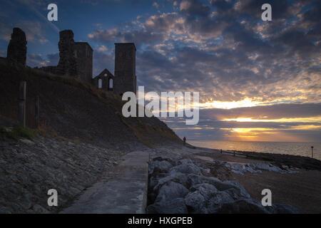 Reculver castle landscape sunset Kent England - Stock Photo