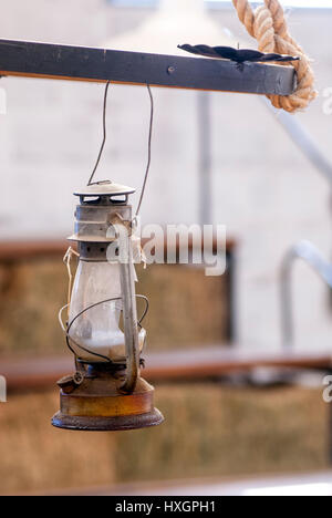 Old Lantern - Vintage Oil Gas Lamp - Manta - Ecuador - Stock Photo