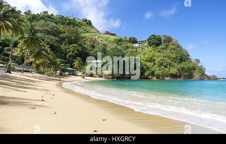 Republic of Trinidad and Tobago - Tobago island - Parlatuvier bay - Tropical beach of Caribbean sea - Stock Photo