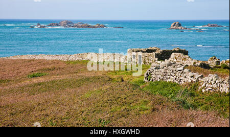 Ruined and deserted village on the now uninhabited island of Samson in the Isles of Scilly UK - Stock Photo