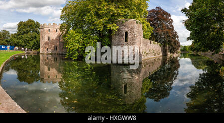 Bishop's Palace and moat in the City of Wells Somerset UK - Stock Photo