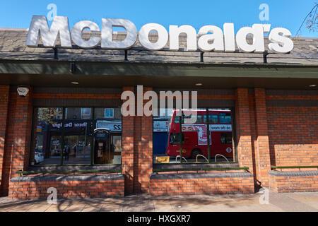 McDonald's restaurant in Leytonstone, London England United Kingdom UK - Stock Photo