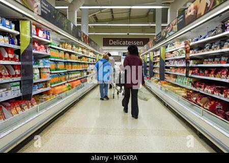Inside A Tesco Supermarket Superstore In West Sussex Uk