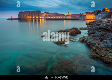 Dubrovnik, Croatia. Beautiful romantic old town of Dubrovnik during sunset. - Stock Photo