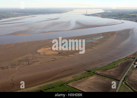 aerial view of the Humber, Read's Island & Humber Bridge, East Yorkshire, UK - Stock Photo