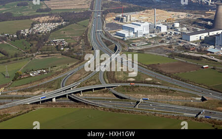 aerial view of the A1 M62 junction at Ferrybridge, Yorkshire, UK - Stock Photo