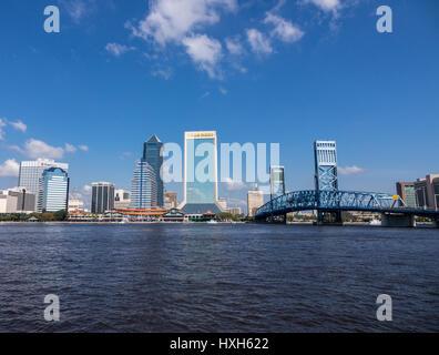 Jacksonville skyline over St Johns River, Florida, USA - Stock Photo