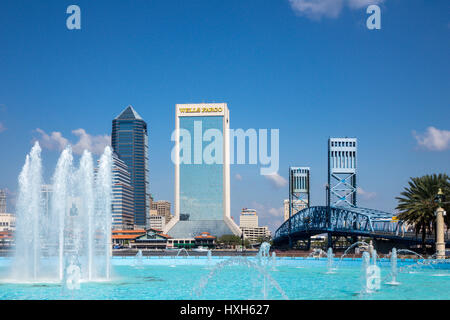Jacksonville skyline over Friendship Fountain, Florida, USA - Stock Photo